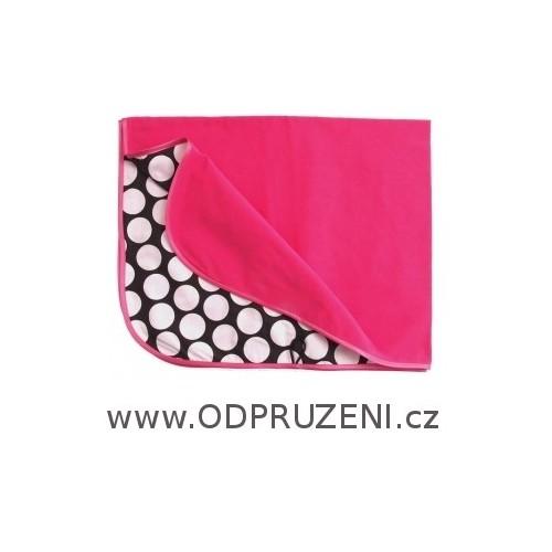 PINKIE letní růžová deka do kočárku s puntíky
