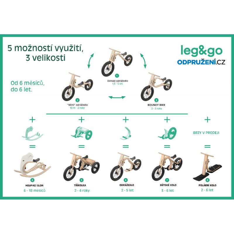 Dětské odrážedlo, tříkolka, kolo a houpačka Leg&Go
