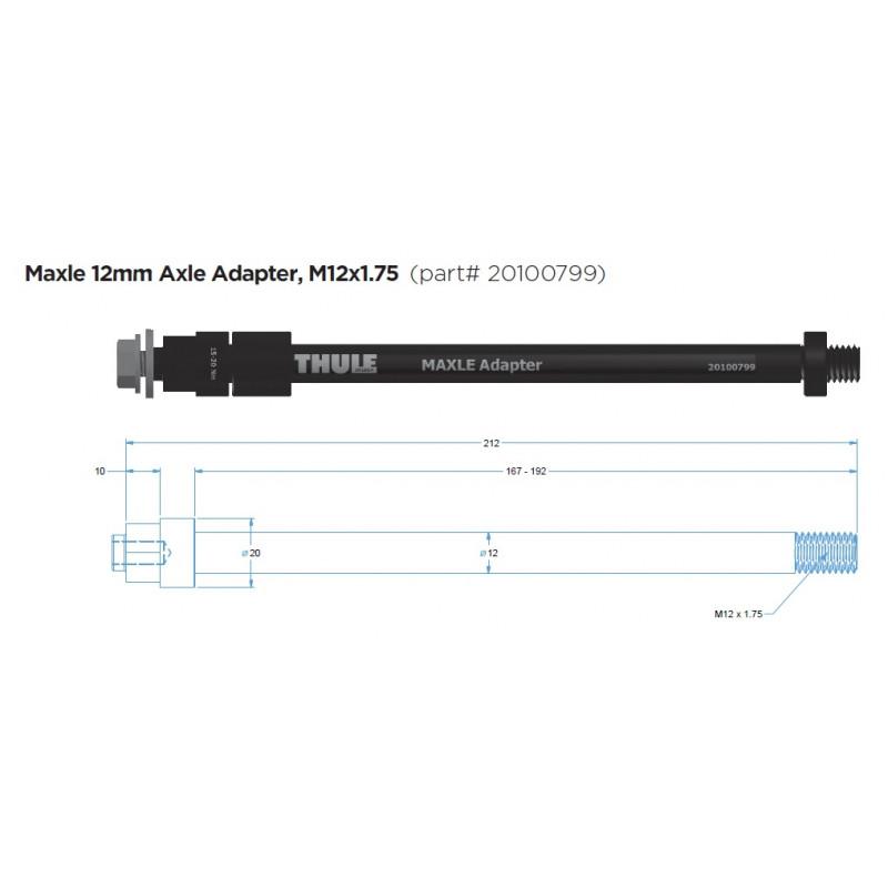 20110736 THULE adaptér Maxle 12mm (M12 x 1.75)