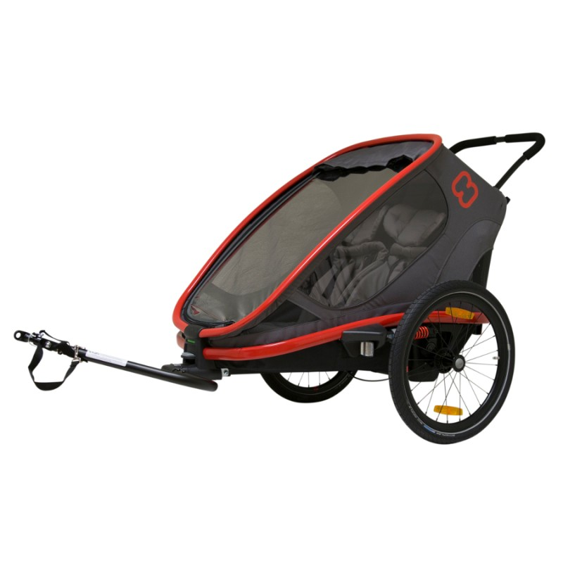 Vozík za kolo pro dvě děti Hamax Outback 2 2v1 2020 black/red