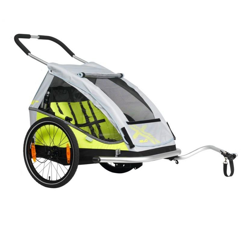 Odpružený dvoumístný vozík za kolo XLC DUO Plus green 2019
