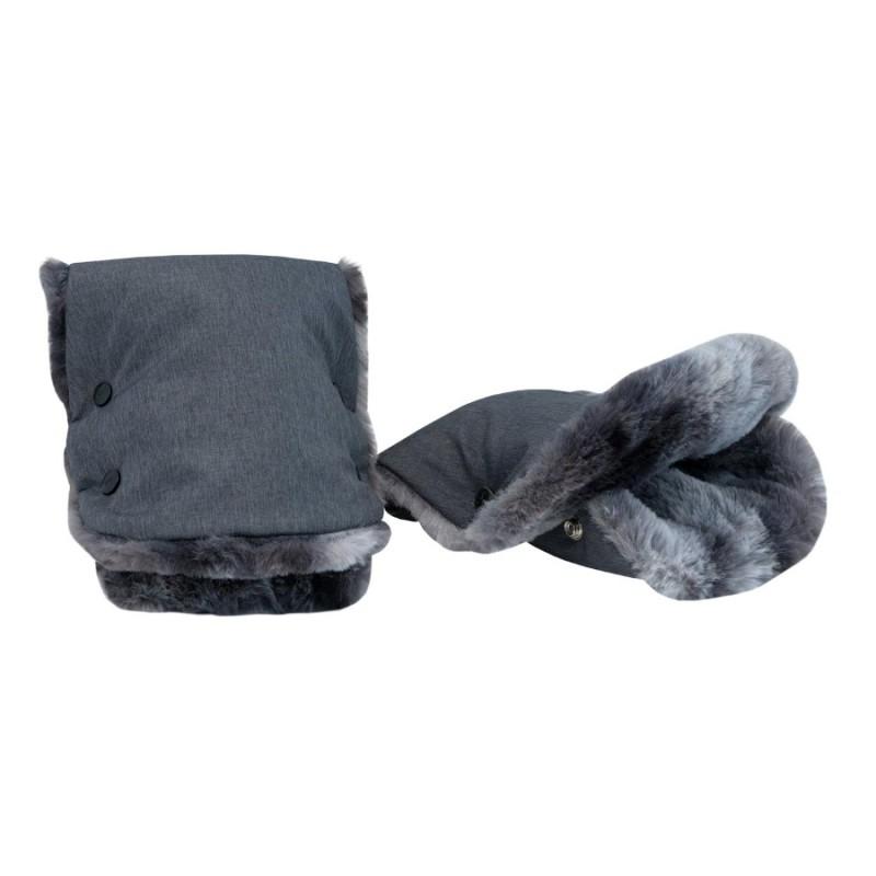 Zimní rukávník pro vozíky Leggero - kožešina šedý melír